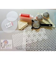 set d'outils pour pose des couleurs fusing en fritte poudre, mica...