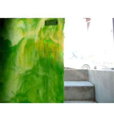 "Verre ""UR"" vert moyen et clair opaline 30x37cm"