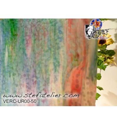 "Verre ""UR"" bleu rose opaline vert  jaune opaque 30x30cm"