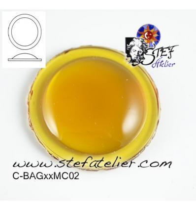cabochon rond de 30mm couleur ambre