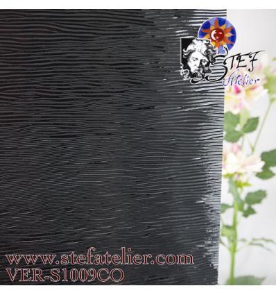 """Verre  """"S"""" cordelé noir opaque compatible fusing S96 30x30cm"""