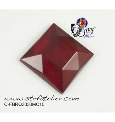 cabochon carré multifacettes rouge 3x3cm