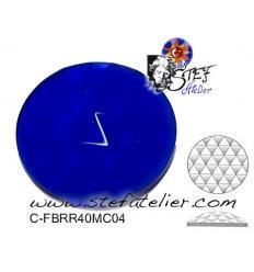 cabochon rond à facettes de 40mm couleur bleue