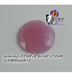 cabochon rond à facettes de 30mm couleur rose opaline