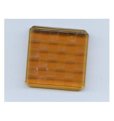 Cabochon carré damier 34x34mm ambre
