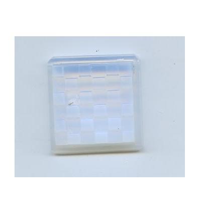 Cabochon carré damier 34x34mm Opaline