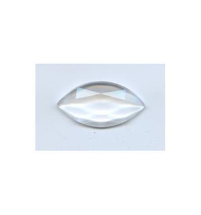 cabochon amande facette 30x15mm clair