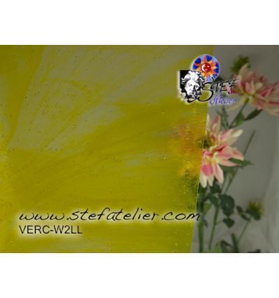 """Verre """"W"""" jaune citron bariolé sur transparent 26x27cm"""