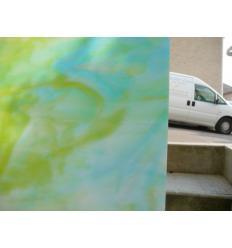 """Verre """"KO"""" vert et turquoise  opaline 27x27cm"""