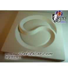 """moule en céramique pour fusing """"yin et yang"""" 30x30x2,6cm"""