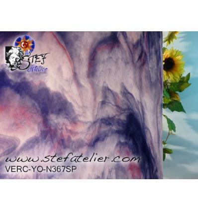 """Verre """"YO"""" violet rose et cire 30x30cm"""