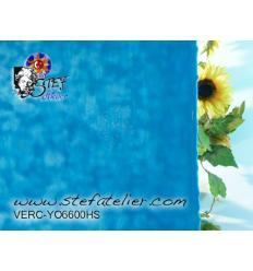"""verre """"YO"""" bleu turquoise et opaline 30x30cm"""