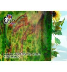 """Verre """"UR"""" Vert et vert clair et rouge 30x30cm"""