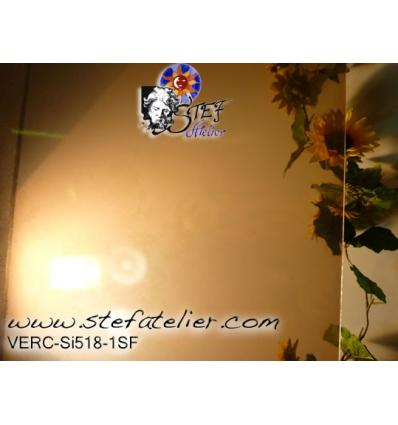 """verre """"S"""" brun irisé transparent compatible fusing S96 30x30cm"""