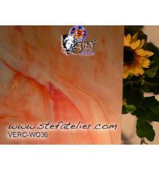 """verre """"W"""" Rose saumon semitransluscide 26x27cm"""