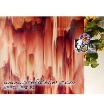 "Verre ""UR"" Rouge et opaline traces de vert 30x38cm"