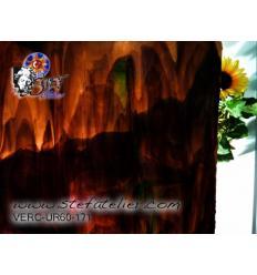 """Verre """"UR"""" brun foncé et traces de vert 30x30cm"""