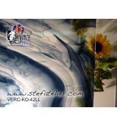 """Verre """"KO"""" Gris acier et cristal 27x27cm"""