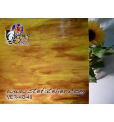 """Verre """"KO"""" ambre vert foncé et opaline 27x27cm"""