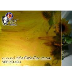 "Verre ""KO"" ambre vert foncé transparent 27x27cm"