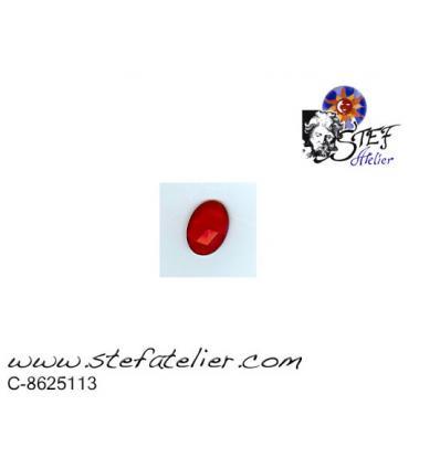 cabochon ovale à facettes de 25/18mm rouge