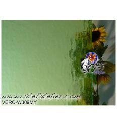 "verre ""W"" vert clair cathédrale mystic 26x26cm"