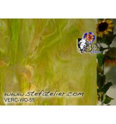 """Verre """"W"""" Vert,beige et opaline  26x27cm"""