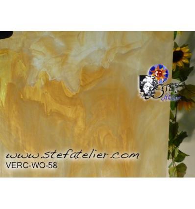 """Verre """"W"""" beige et opaline 26x27cm"""