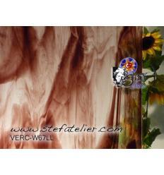 """Verre """"W"""" vieux rose  sur transp 26x27cm"""