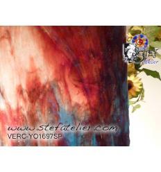 """Verre """"YO"""" rouge bleu et blanc cire 30x30cm"""