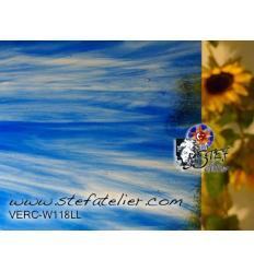 """Verre """"W"""" bleu clair sur transp 27x26cm"""