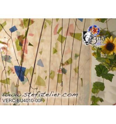 """Verre """"BU"""" feuilles roses vertes lignes noires sur opal  25x29cm"""