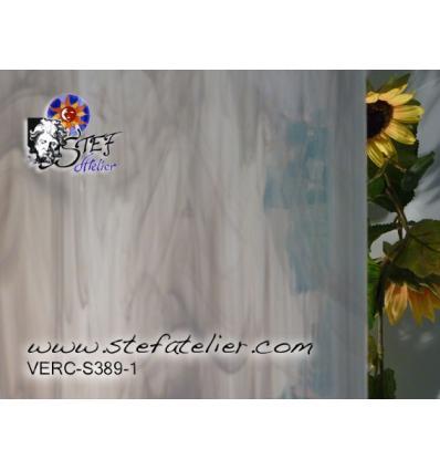 """Verre """"S"""" Gris clair transp et gris  opaline 30x30cm"""