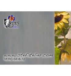 """Verre """"S"""" gris bleu et blanc opaline bariolé 30x30cm"""