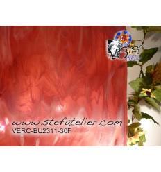 "Verre ""BU"" rose et cire fusing bullseyes 25x30cm"