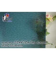 """Verre """"S"""" Cathédrale bleu acier 30x30cm"""