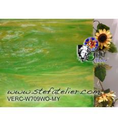 "Verre ""W"" vert & jaune ambre MYSTIC 27x27cm"