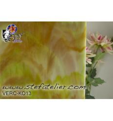 """Verre """"KO"""" ambre  vert et opaline 26x27cm"""