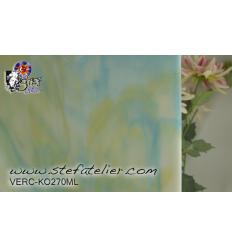 """Verre """"KO"""" bleu turquoise ambre et opaline 27x27cm"""