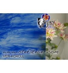"Verre ""KO"" bleu clair cobalt et clair bariolé 27x27cm"