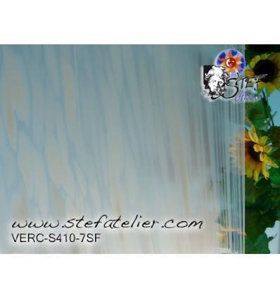 """Verre """"S"""" Spirit grains blanc (FUSING S.96) 30x30cm"""
