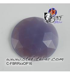 cabochon rond à facettes de 25mm couleur violet opaline