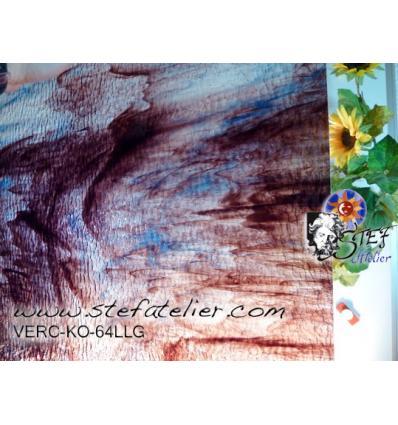 """Verre """"KO"""" Violine et bleu sur transparent granité  26x26cm"""