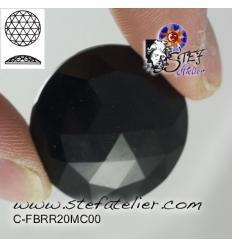 cabochon rond à facettes de 20mm couleur Noire