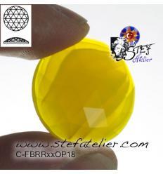 cabochon rond à facettes de 25mm couleur jaune opaline