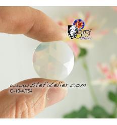 cabochon rond à facettes de 25mm couleur blanc opaline
