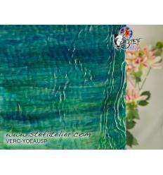 """verre """"YO"""" bleu et vert eau chenillé 30x30cm"""