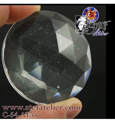 Ancien* Cabochon Rond à facettes transparent diamètre 50 mm