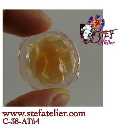 Ancien* Cabochon rocher rond rose à l'or opale 25mm