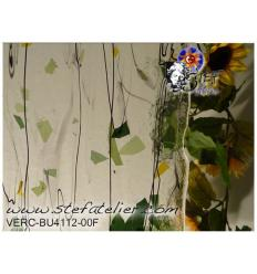 "Verre ""BU"" feuilles vertes et jaune lignes noires...27x27cm"